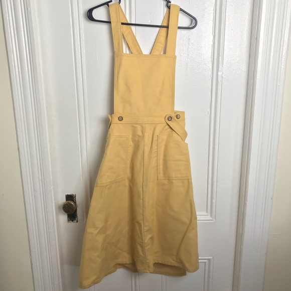 Vintage 70s Woolrich yellow cotton overall dress